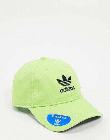 adidas unisex Originals sherpa cap in signal green/black | ASOS