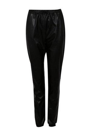 Tall Faux Leather Seam Joggers | boohoo black