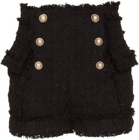 Balmain Shorts Tweed In Black