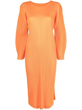 Shop orange Pleats Please Issey Miyake pleated mid-length dress with Express Delivery - Farfetch