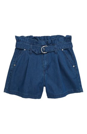 Joe's The Charlie Belted Paperbag Waist Denim Shorts (Big Girls) | Nordstrom