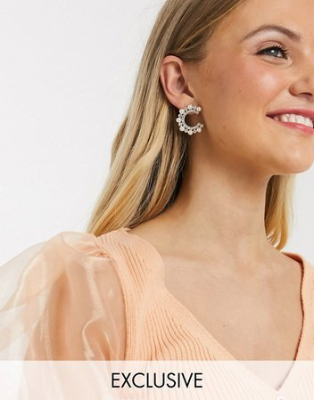 Glamorous Exclusive statement hoop earrings with pearl cluster | ASOS