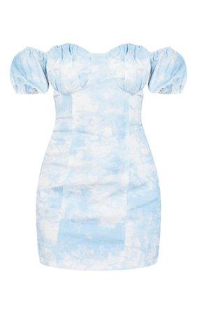 Petite Blue Tie Dye Denim Milkmaid Mini Dress | PrettyLittleThing