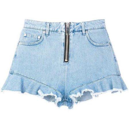 MSGM frilled denim short shorts ($295)