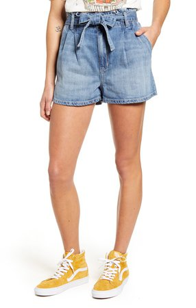 Paperbag Waist Pleated Denim Shorts
