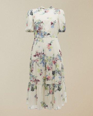 Pergola puff sleeved midi dress - Ivory | Dresses | Ted Baker UK