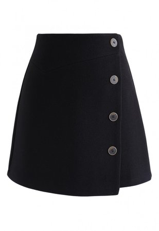 Basic Texture Button Trim Mini Skirt in Black - Skirt - BOTTOMS - Retro, Indie and Unique Fashion