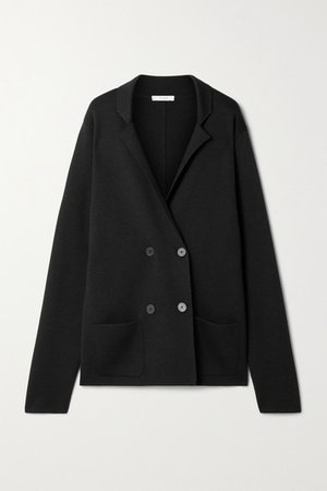 Chopok Double-breasted Oversized Wool And Silk-blend Blazer - Black