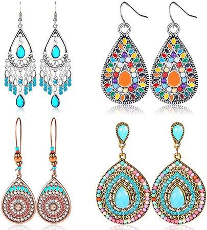 Amazon.com: 4 Pair Bohemian Vintage Earrings Dangle Drop Earring Jewelry Accessories for Women Girl Supplies: Jewelry