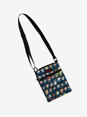 Stranger Things Chibi Character Print Passport Crossbody Bag