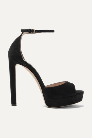 Black Pattie 130 suede platform sandals | Jimmy Choo | NET-A-PORTER