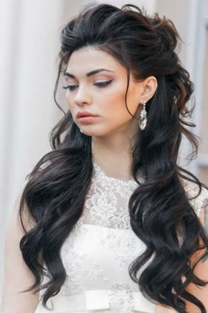black color hair half up half down hairstyles - Google Search