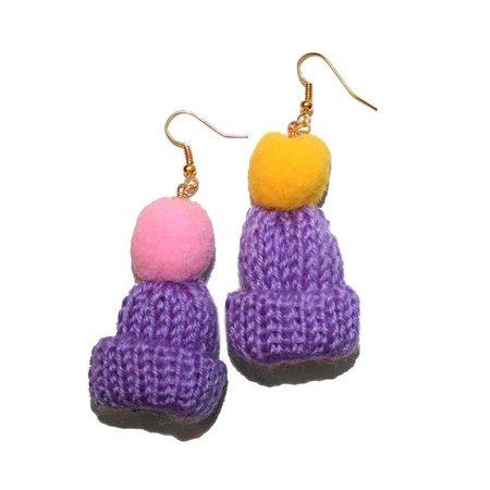 Big Puffy Knit Beanie Earrings kitsch hat earrings hand | Etsy