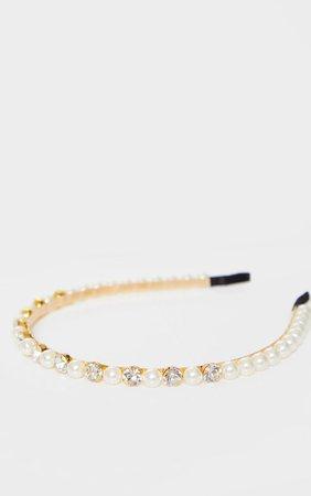 Gold Diamante White Pearls Headband   PrettyLittleThing USA