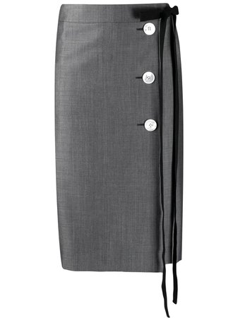Prada Tie Fastening Buttoned Pencil Skirt - Farfetch
