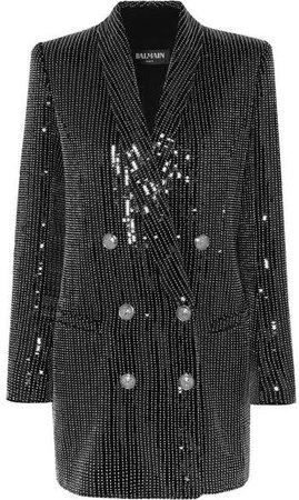 Embellished Crepe Mini Dress - Black