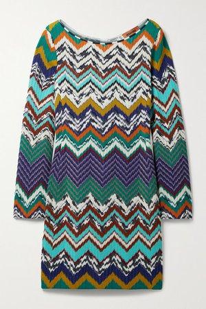 Crochet-knit Cotton-blend Mini Dress - Orange