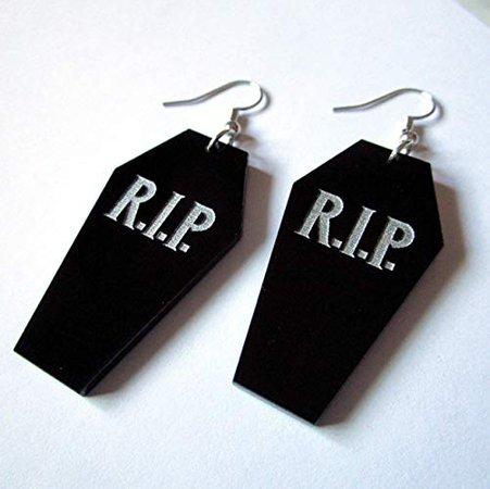 Amazon.com: RIP Halloween Coffin Dangle Statement Goth Earrings: Handmade