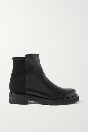 5050 Lift Leather And Neoprene Ankle Boots - Black