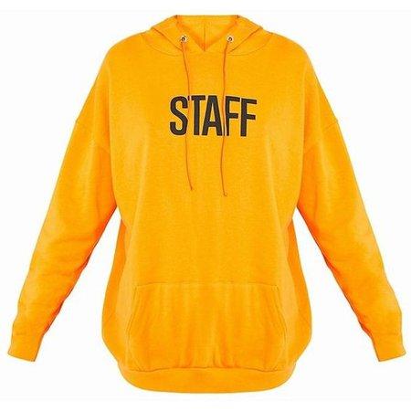 STAFF Slogan Orange Oversized Hoodie