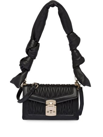 Miu Miu Matelassé Shoulder Bag 5BD083VMOON88 Black | Farfetch