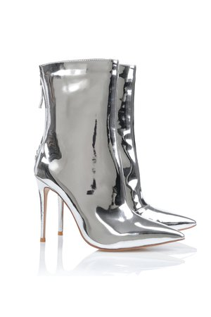 'Mercury' Silver Mirror Ankle Boots