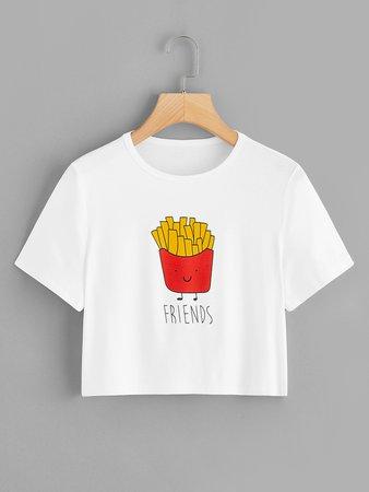 1Plus1 Girls Cartoon French Fries BFF Print Crop Tee | ROMWE