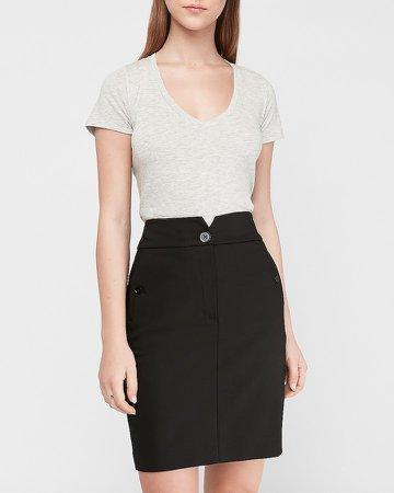 High Waisted Notch Front Pencil Skirt