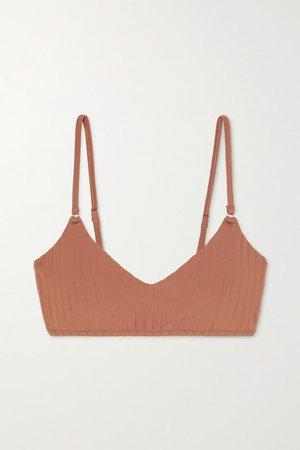 Vienna Ribbed Bikini Top - Brown