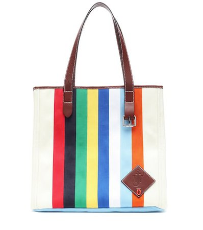 Leather-trimmed canvas tote