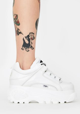 Buffalo London White Classic Low Patent Leather Sneakers | Dolls Kill