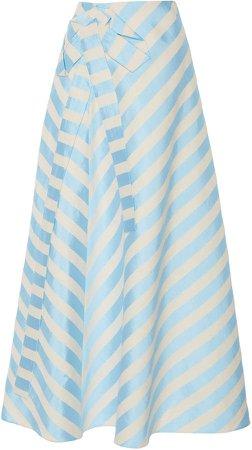 Bow-Embellished Striped Linen-Blend Midi Skirt
