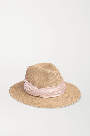 Beige Courtney satin-trimmed straw fedora | Eugenia Kim | NET-A-PORTER
