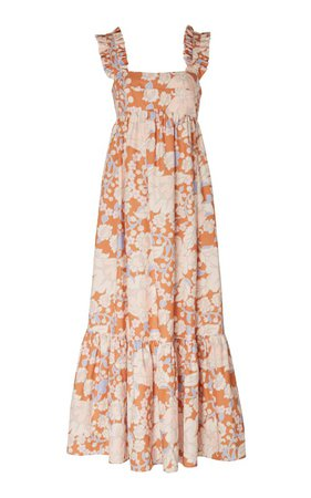 Woodstock Ruffled Floral-Print Linen Midi DRess by Ephemera | Moda Operandi