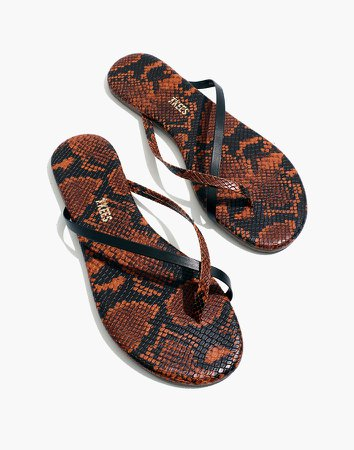 x TKEES Riley Vegan Leather Sandals in Snake Embossed