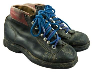 1940's Classic Leather Ski Boots with Blue Laces