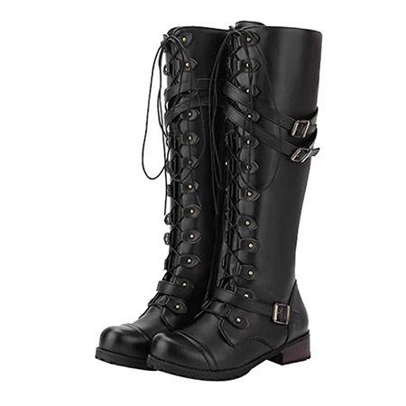 Knee high Lace Boots leather black
