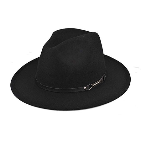EINSKEY Womens Felt Fedora Hat, Wide Brim Panama Cowboy Hat Floppy Sun Hat for Beach Church Black at Amazon Women's Clothing store