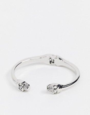Topshop hinge bangle bracelet with skull detail in silver   ASOS