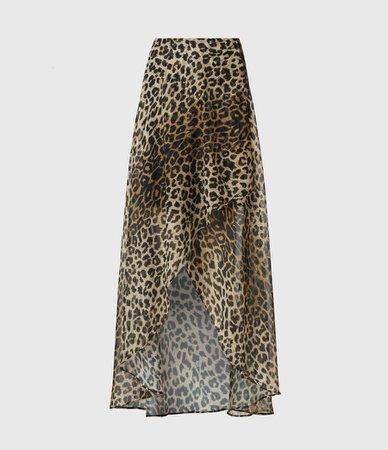 ALLSAINTS US: Womens Slvina Leppo Skirt (leopard_yellow)