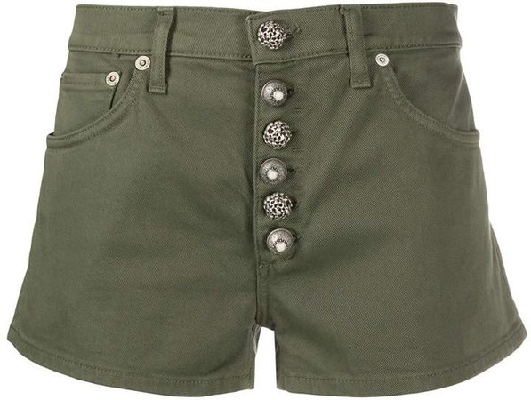 button fly cotton blend shorts