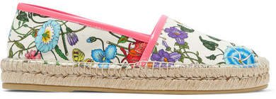 Pilar Leather-trimmed Floral-print Canvas Espadrilles - White