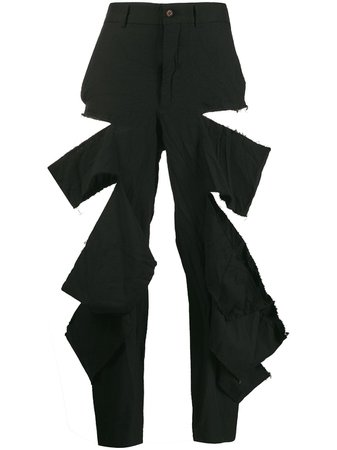 Comme Des Garçons Distressed Cropped Trousers GDP012W19 Black   Farfetch