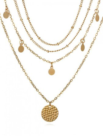 [33% OFF] 2020 Layered Disc Chain Necklace In GOLD | ZAFUL