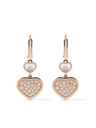 Chopard 18kt rose gold Happy Hearts diamond drop earrings £6,640 - Fast Global Shipping, Free Returns