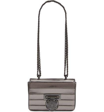Balmain Baby Box Mariniere Mirrored Calfskin Leather Shoulder Bag Grey