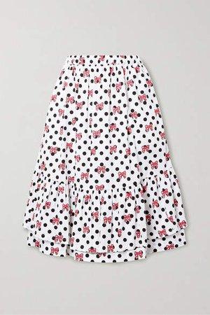Disney Ruffled Printed Cotton-poplin Skirt - White
