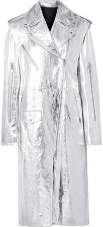 Convertible Metallic Leather Trench Coat - Silver