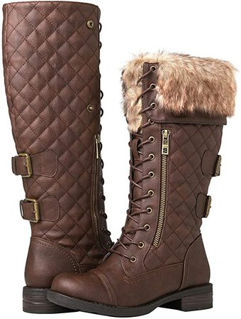 Amazon.com | GLOBALWIN Women's Knee High Combat Boots | Knee-High