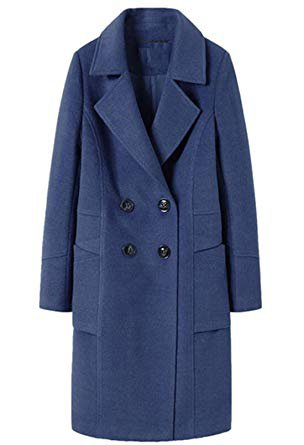 Amazon.com: chouyatou Women's Basic Essential Double Breasted Mid-Long Wool Blend Pea Coat: Clothing